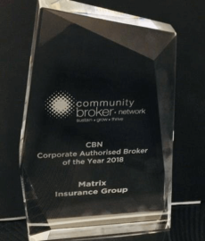 Matrix Insurance Group awarded Corporate Authorised Insurance Broker of the Year for 2018